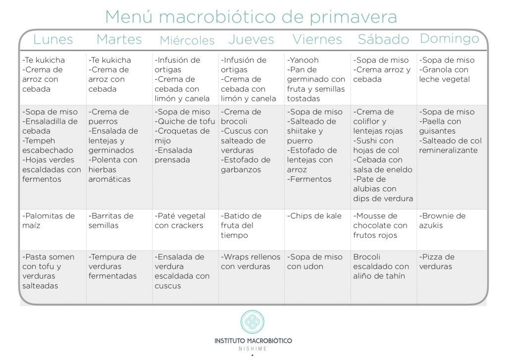 Menú macrobiótico de primavera
